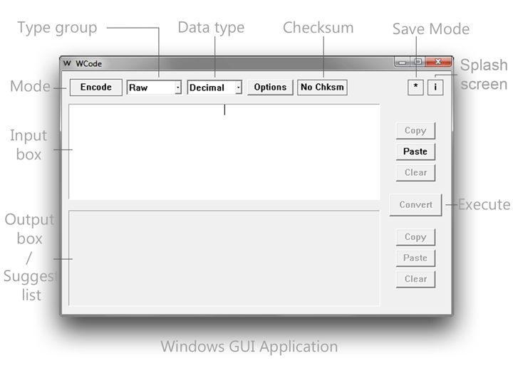 Captioned screenshot of the Windows GUI application